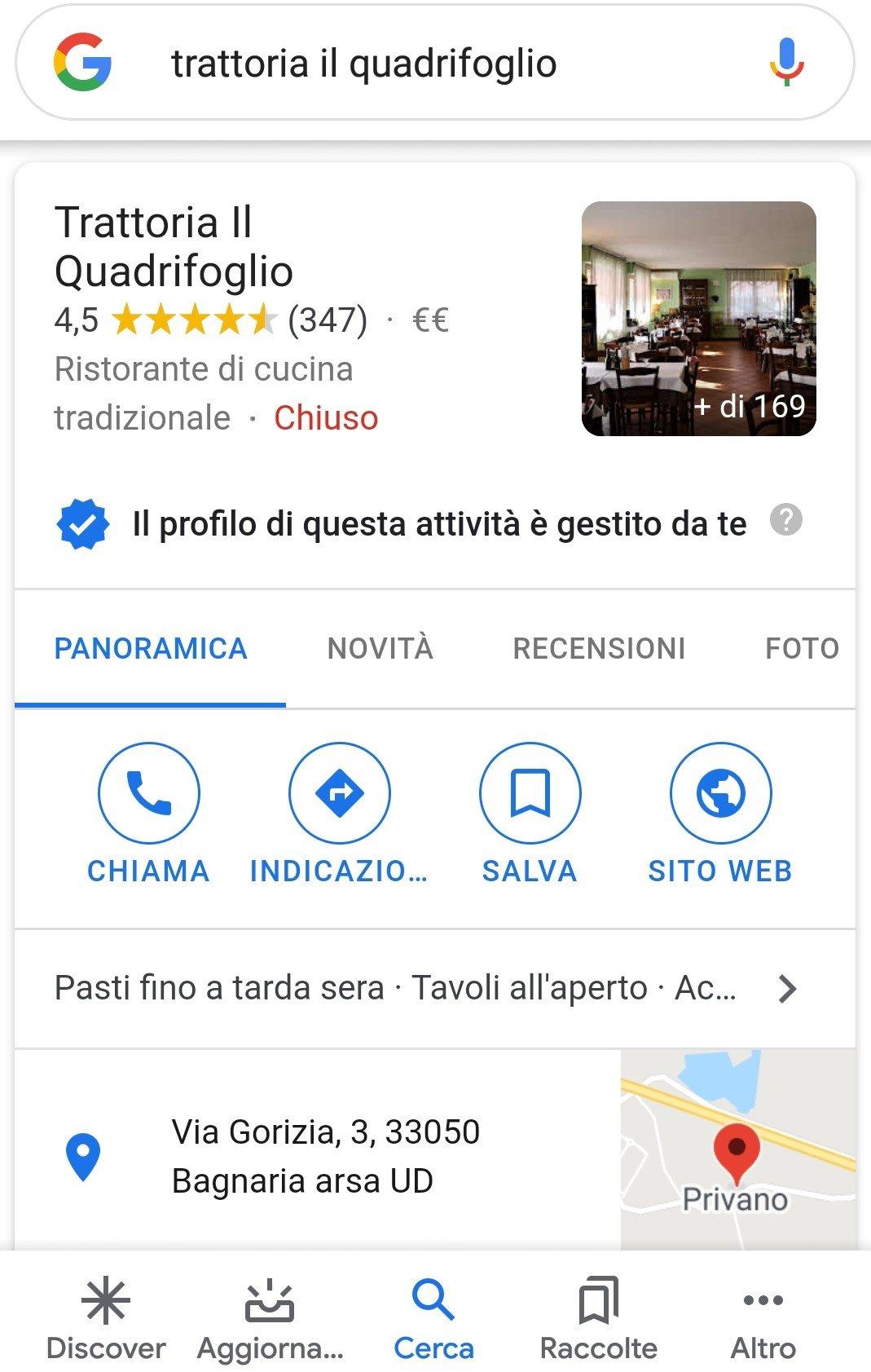 sempio scheda Google My Business da mobile